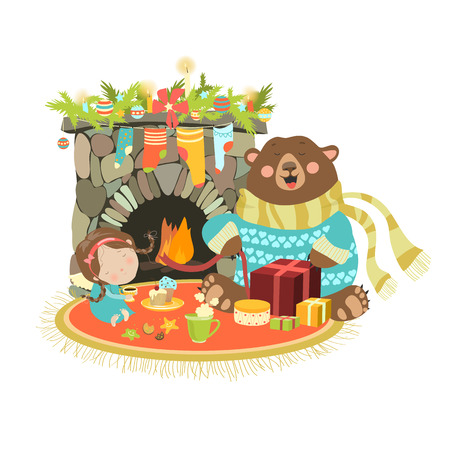 brandweer cartoon: Weinig engel schattige beer zitten in de buurt van een open haard. vector illustratie