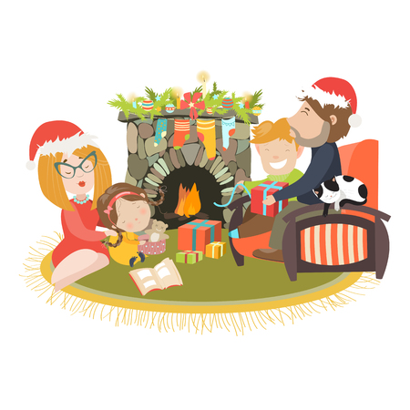 fireplace: Family celebrating Christmas at fireplace. Vector illustration