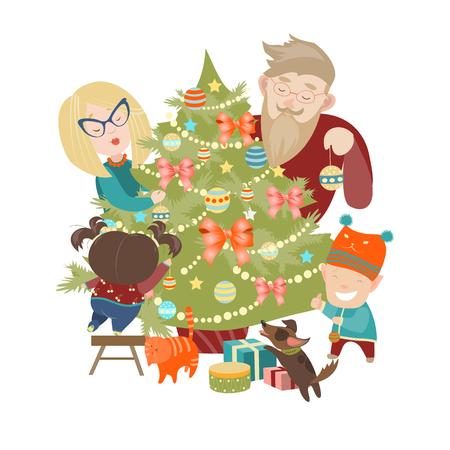 perro familia: Familia decorar un árbol de Navidad. Ilustración vectorial