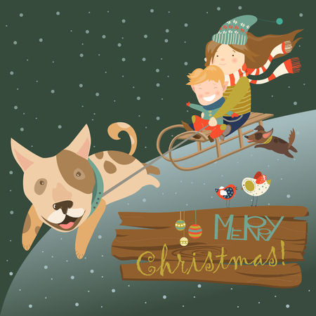 sisters: Funny dog pulling sledge with children. Vector illustration Stock Photo