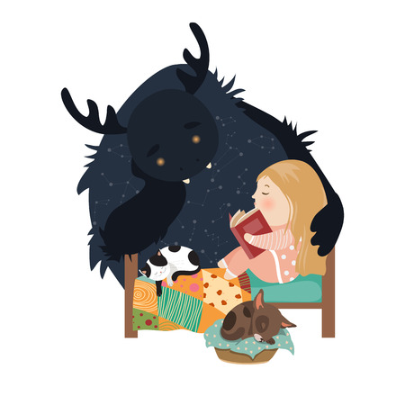 blanket: Little girl reading fairy tales to the monster. Vector illustration