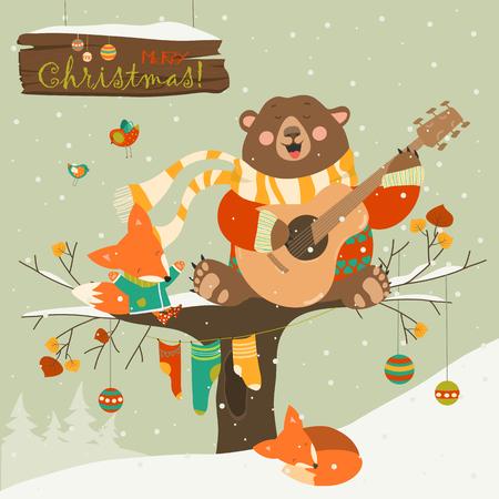 귀여운 곰 크리스마스 축하하는 작은 여우. 벡터 인사말 카드