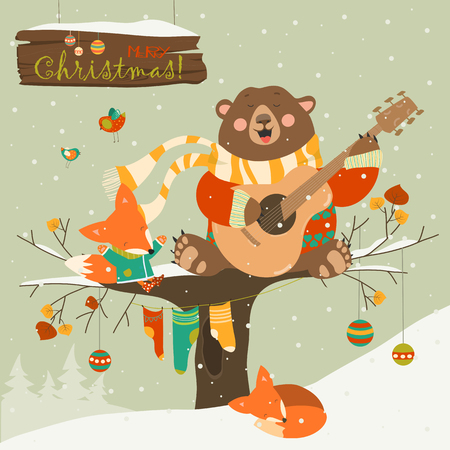 bird: Cute bear and little fox celebrating Christmas. Vector greeting card Illustration