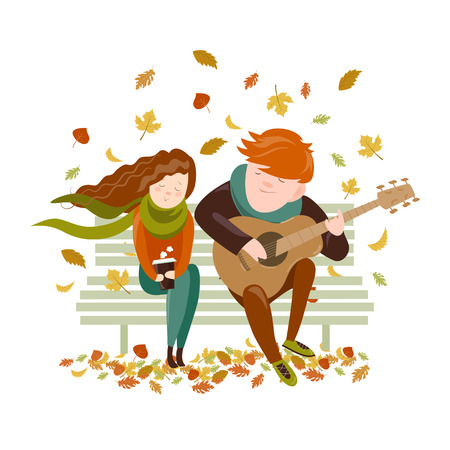 Boy plays guitar for a girl in the autumn park. Vector illustration Illustration