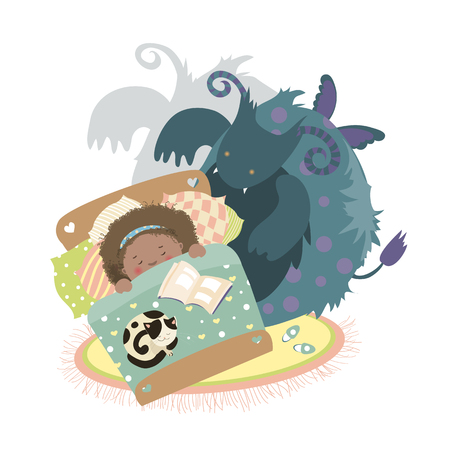 sits: Monster sits at bed and frightened girl. Vector illustration