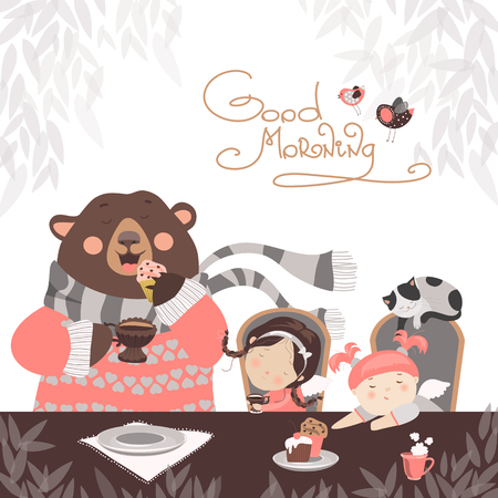 cartoon little girl: Girls drinking tea with a cute bear. Vector illustration