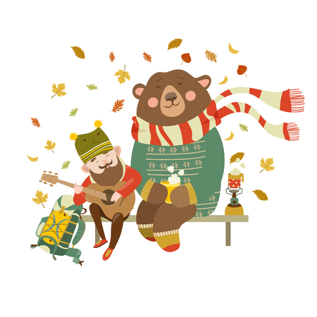 travel burner: Cheerful tourist is playing guitar for the bear. Vector illustration