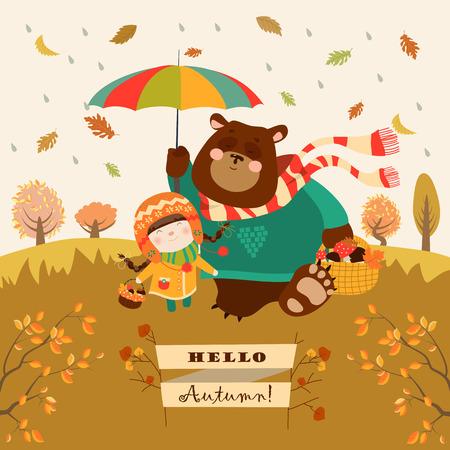 소녀와 곰은 숲에서 우산 아래 산책. 벡터 일러스트 레이 션