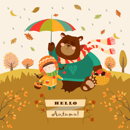 Girl and bear walking under an umbrella in the forest. Vector illustration Ilustração