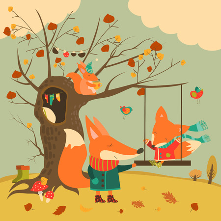 hollow: Cute foxes ride on a swing in the autumn forest. Vector illustration