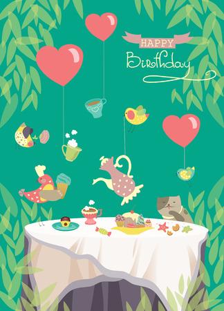 벡터 생일 파티 카드, 축제 식사와 함께 귀여운 조류와 테이블 일러스트