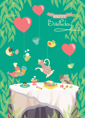 Vector birthday party card, cute birds and table with festive meal