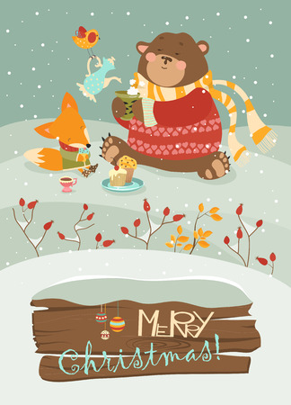 wintering: Cute bear and little fox celebrating Christmas.