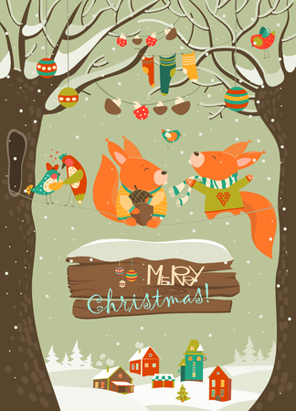Cute squirrels celebrating Christmas. Stock Illustratie