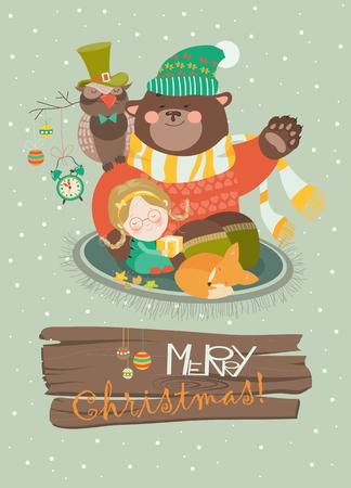 alarm clock: Cute girl, funny bear and owl celebrating Christmas.  Illustration