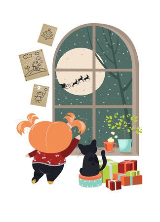 finestra: Bambina guardando fuori dalla finestra dietro di Babbo Natale. Vettoriali