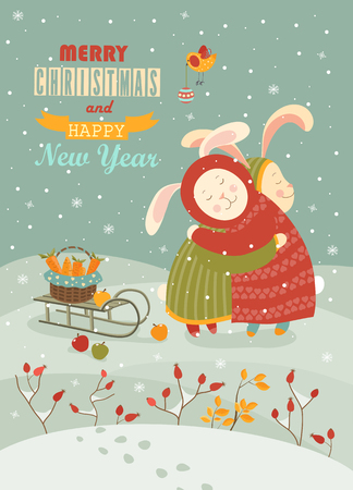 wintering: Cute rabbits celebrating Christmas.  Illustration