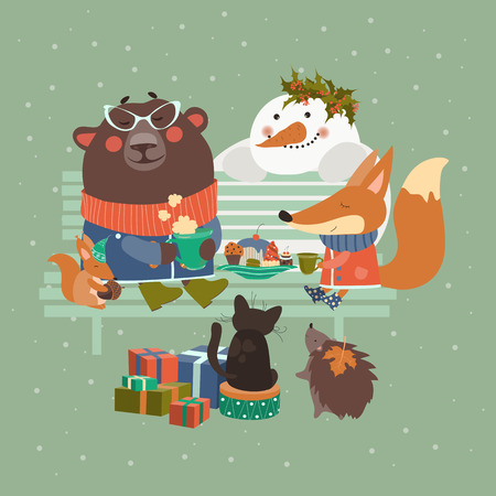 cute animal cartoon: Cute animals celebrating Christmas.  Illustration