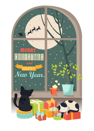 moonshine: Funny cat looking out of the window behind Santa Claus.   Illustration