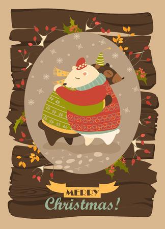 osos navide�os: Couple of hugging bears. Vector christmas greeting card