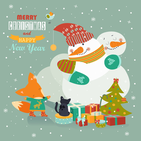 to present: Couple of hugging snowmen. Vector christmas greeting card