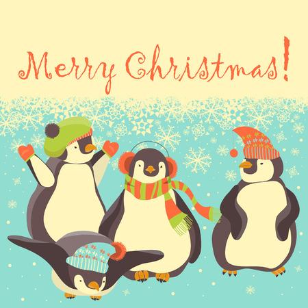 pinguin: Funny penguins friends celebrating Christmas. Vector illustration