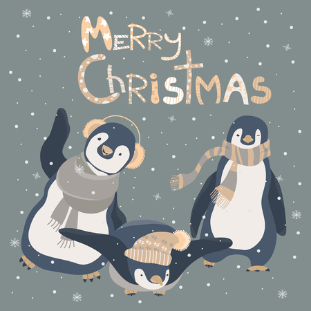 Funny penguins friends celebrating Christmas. Vector illustration