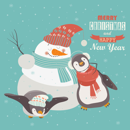 snowman vector: Funny penguins with snowman celebrating Christmas. Vector illustration