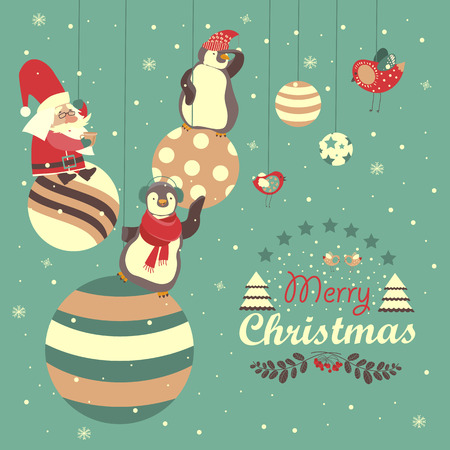 pinguin: Funny penguins with Santa Claus celebrating Christmas. Vector illustration
