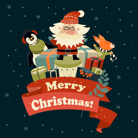red squirrel: Santa Claus with cute squirrel and penguin celebrating Christmas. Vector illustration Illustration