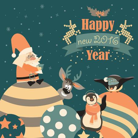 bird: Funny penguins with Santa Claus celebrating Christmas. Vector illustration