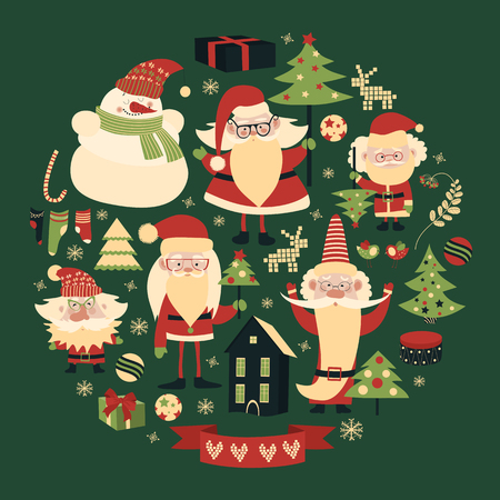 Vector collection of christmas items. Santa Claus, Christmas tree,snowman