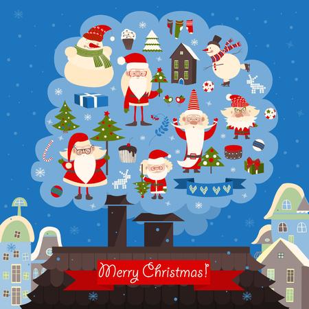 casita de dulces: Vector collection of christmas items. Santa Claus, Christmas tree,snowman