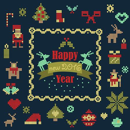 Vector collection of christmas items. Santa Claus, Christmas tree,snowman