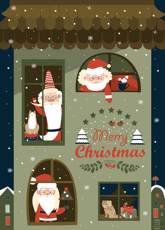 clauses: House of Santa Clauses. Vector greeting card