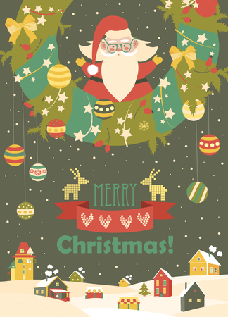 weihnachtsmann lustig: Netter Weihnachtsmann, Weihnachten zu feiern. Vektor-Illustration