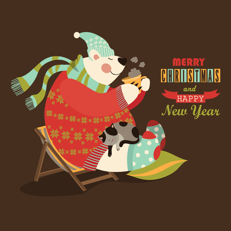 Cute bear celebrate Christmas. Vector greeting card