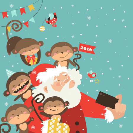 telephone cartoon: Santa and monkeys take a selfie. Vector illustration Illustration