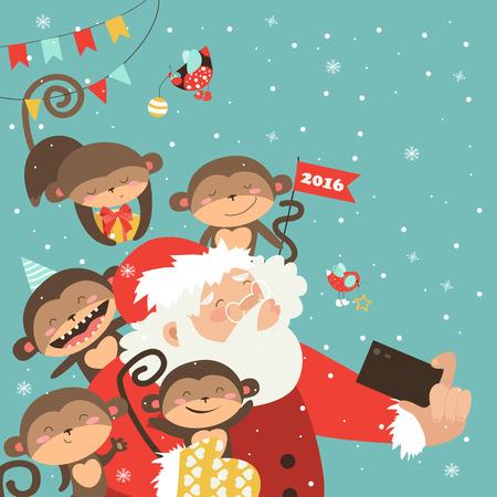taking picture: Santa and monkeys take a selfie. Vector illustration Illustration