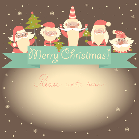clauses: 2016 New Year funny card with Santa Clauses and ribbon. Vector illustration.