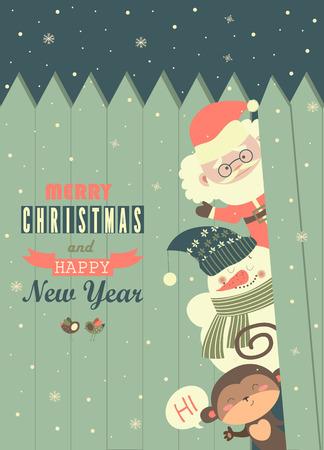 wishing card: Santa,monkey,snowman wishing you Merry Christmas. Vector greeting card