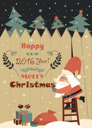 ladder: Funny Santa Claus wishing you Merry Christmas. Vector christmas card