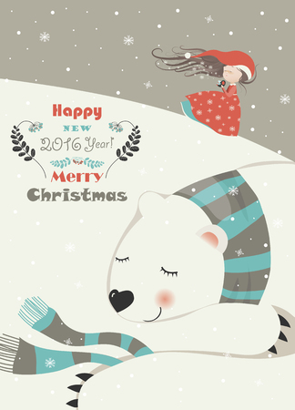 girl in red dress: Cute girl with sleeping polar bear. Vector greeting card