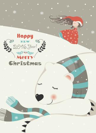 Cute girl with sleeping polar bear. Vector greeting card