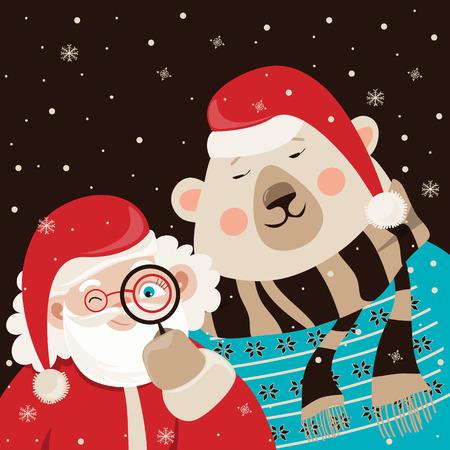 weihnachtsmann lustig: Santa Claus iwith polar bear. Vector illustration