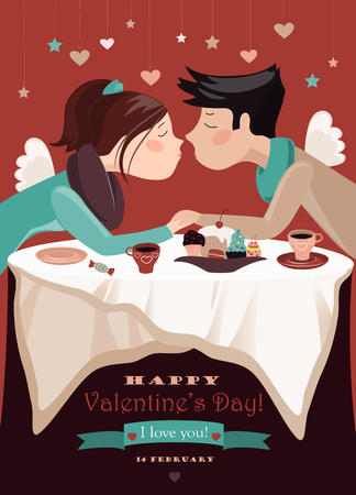 teen boy: Couple in love celebrating Valentines Day. Illustration