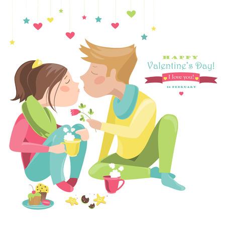 Couple in love celebrating Valentines Day. Illustration