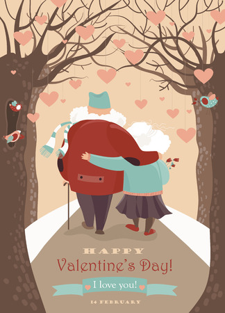 Old couple in love walking.