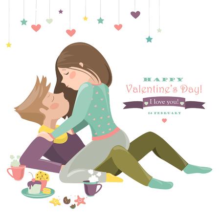 innamorati che si baciano: Coppia in amore festeggiare San Valentino. Vettoriali