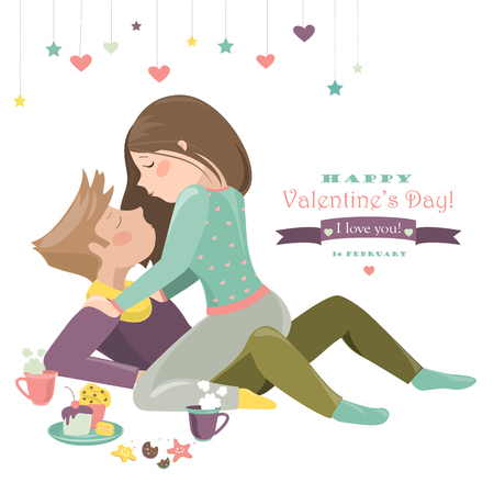 couple dating: Couple in love celebrating Valentines Day. Illustration